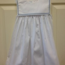 White Sailor Style Dress Blue Trim
