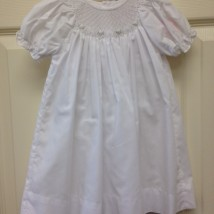 White Smocked Dress w White Roses
