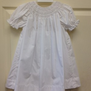 White Smocked Dress w pearls and bloomers