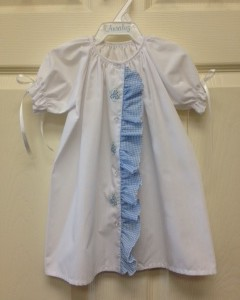 White dress w Blue Ruffle