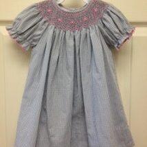 Blue w Pink Floral Smock Dress