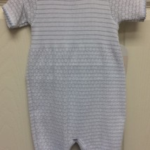 Gray Stripe Romper w blue trim
