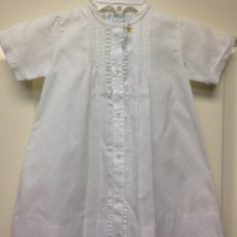 White Button Down Gown w Lace Trim