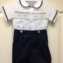 White Navy Smocked Button Shortall