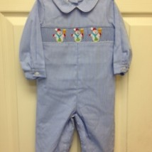 blue smocked snowmen long bubble