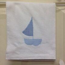 Blue Plaid Sailboat Burp Cloth
