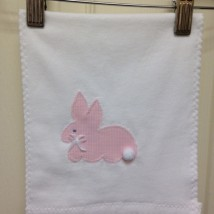 Pink Plaid Bunny Burp Cloth