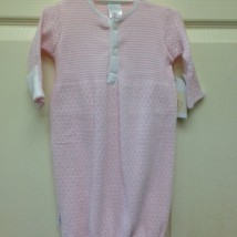Pink gown white stripes button down half way