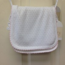 White Burp Cloth Pink Trim
