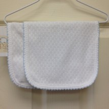 White Burp Cloth blue Trim