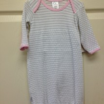 gray stripe gown pink trim