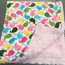 Birds & Pink Rosebud Blanket