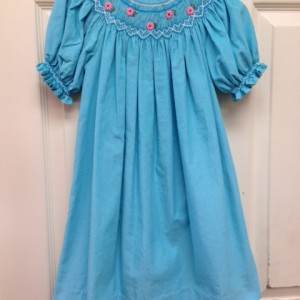 Blue Cord Smocked Dress