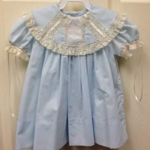 Blue Dress w Ecru trim and collar
