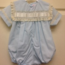 Boy Blue Bubble w Ecru Thick ribbon