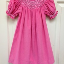 Pink Cord Smocked Dress