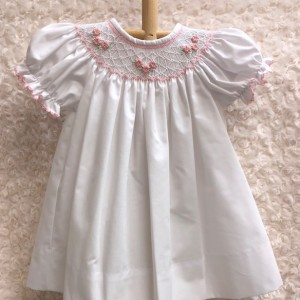 White Dress w Pink Floral Smocking