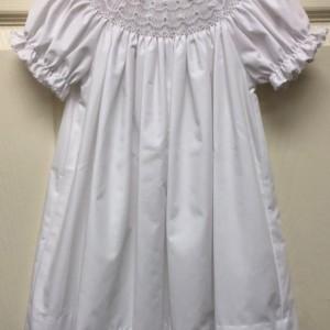 White Smocked Pearl Dress