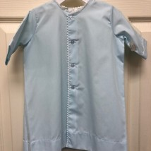 Blue Button Down Day Gown w White Scalloped Trim