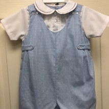Blue Check Romper w Hat