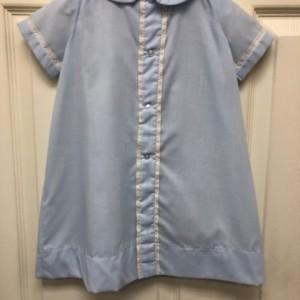 Blue Day Gown Ecru Double Lace Trim