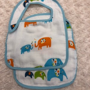 Blue & Orange Elephant Bib Set