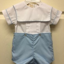 Blue & White Jon Jon Set w blue Trim