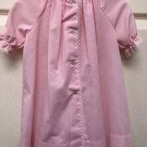 Pink Check Day Dress, White Trim