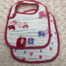 Pink Elephants Bib Set