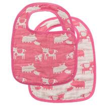 Pink Farm Animal Bibs