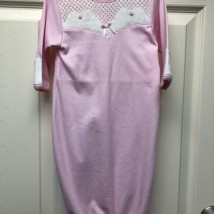 Pink Gown w White & pink Smock