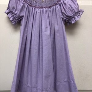 Purple Check Smocked Dress
