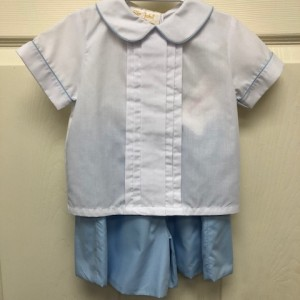 White Top Blue Short Set
