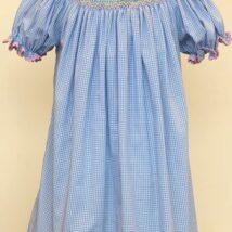 Blue Check Smocked Bunny Dress