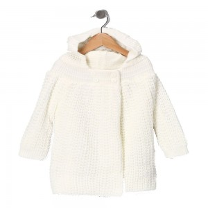 Ecru Knit Hooded Jacket