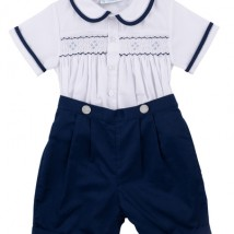 Navy Smocked Bobby Suit
