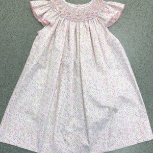Pastel Floral Angel Sleeve Smocked Dress