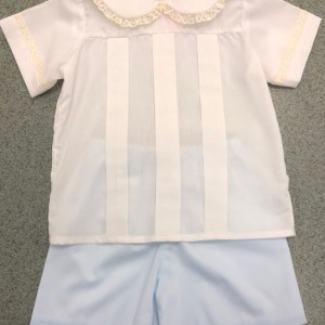 White and Blue Boys Short Set