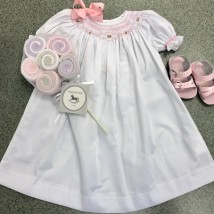 White Dress w Pink Pearl Smocking