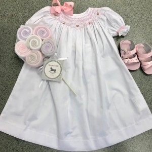 White Dress w Pink Pearl Smocking