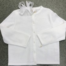 White Sweater w Scalloped Trimming