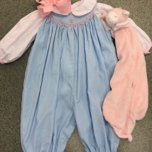 Blue Longall w White & Pink Smock