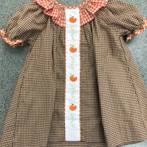 Brown Check Dress w Smocked Pumpkins