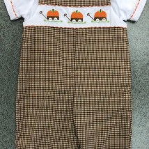 Brown Check Smocked Pumpkin Longall
