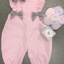 Pink Romper w Grey Bows