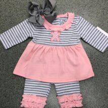 Pink & Grey Teddy Bear Legging Set
