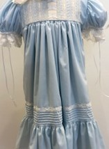 Blue Dress w Ecru Lace