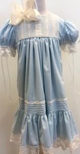 Blue Dress w Ecru Lace