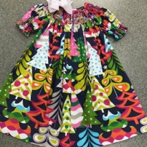 Colorful Christmas Tree Smocked Dress