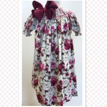 Cream & Pink Floral Smocked Dress